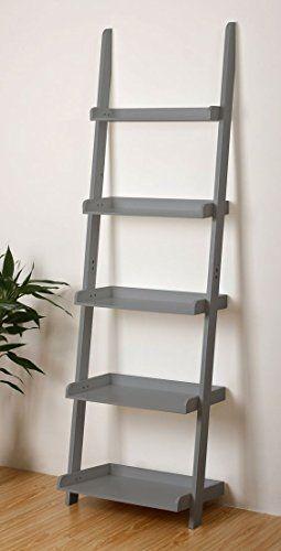 Costello Hq 5 Tier Blue Grey Leaning Ladder Wall Shelf D Https