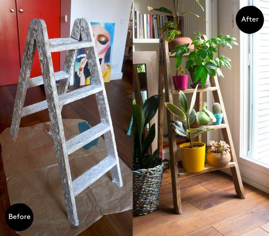 Before & after. Ladder plant stand · Antes y después. Escalera para plantas   Dr. Livinghome. A modern DIY blog