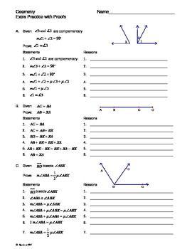 Geometry Intro Proofs Extra Practice Worksheet