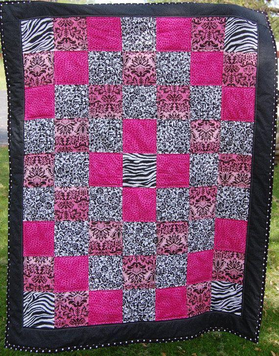 Lap Quilt Cheetah Pink Print Zebra Print Black by beyondquilts ... : animal print quilt patterns - Adamdwight.com