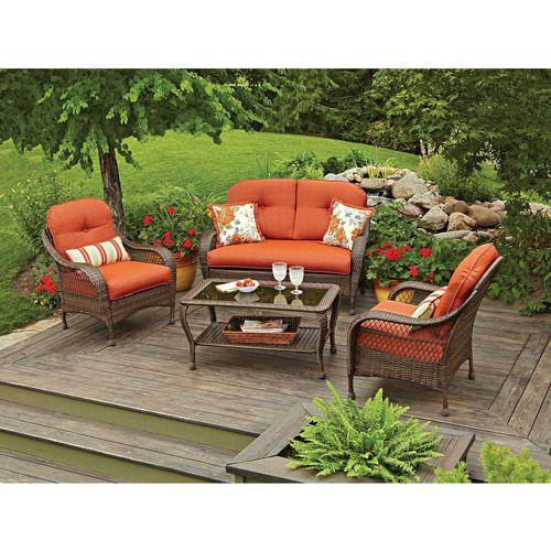 Better Homes Gardens Azalea Ridge Outdoor Conversation Set With Orange Cushions Walmart Com Outdoor Patio Furniture Sets Conversation Set Patio Garden Furniture Sets
