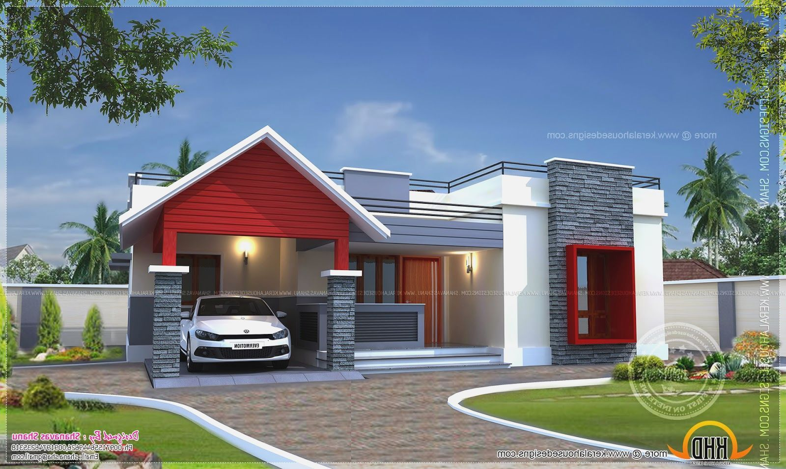 Modern Single Floor Home Design Part - 16: Modern One Storey House Eco Friendly Houses Feet Floor Exterior