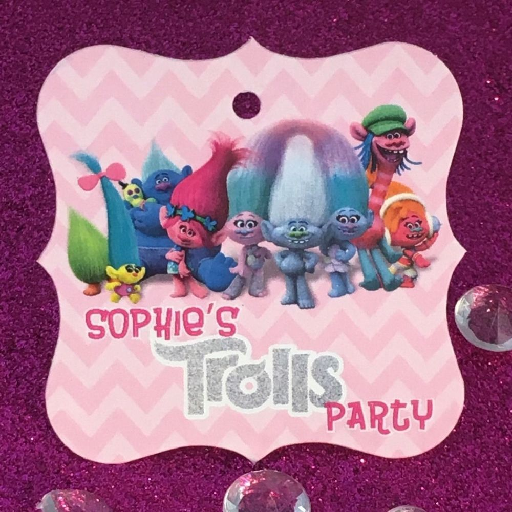 24 Trolls Movie Personalized Birthday Party Favor Tags | Pinterest ...