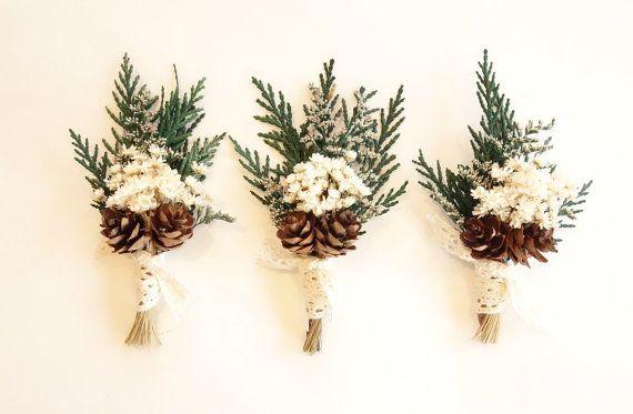 Cedar Boutonniere Winter Wedding By MoonflowerNatureArt On