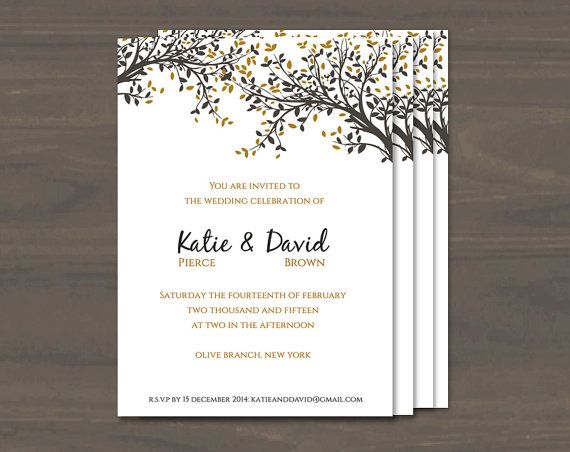 DIY Printable Wedding Invitation Template Black and Gold Leaves - invitation templates for microsoft word