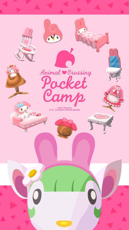 Animal Crossing Pocket Camp Sanrio Collaboration Wallpaper Chelsea My Melody Animal Crossing Animal Crossing Pc Animal Crossing Pocket Camp