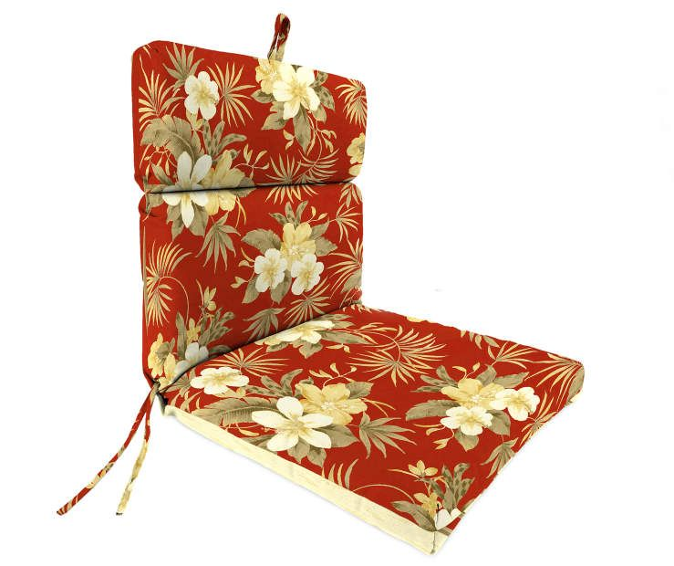 Emily Red Floral Stripe Reversible Outdoor Chair Cushion At Big