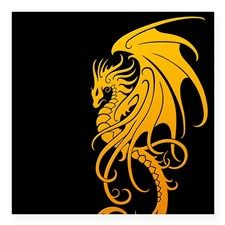 cee94320b Flying Tribal Yellow Dragon Sticker | BUMPER STICKERS/STICKERS/SIGNS