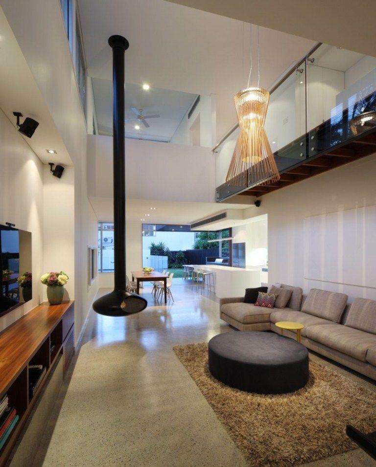 Living Room Modern Living Room Lighting Using Pendant Lights On High Ceiling Decorative Pendant Design Da Lareira Iluminacao Sala De Estar Interior De Design