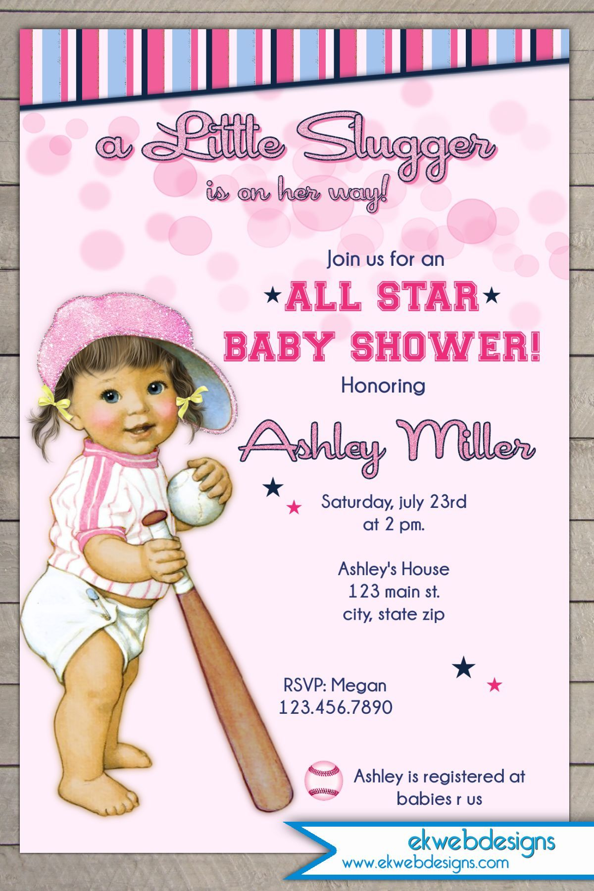 Vintage All Star - lil Slugger Baseball Girl Baby Shower Invitation ...