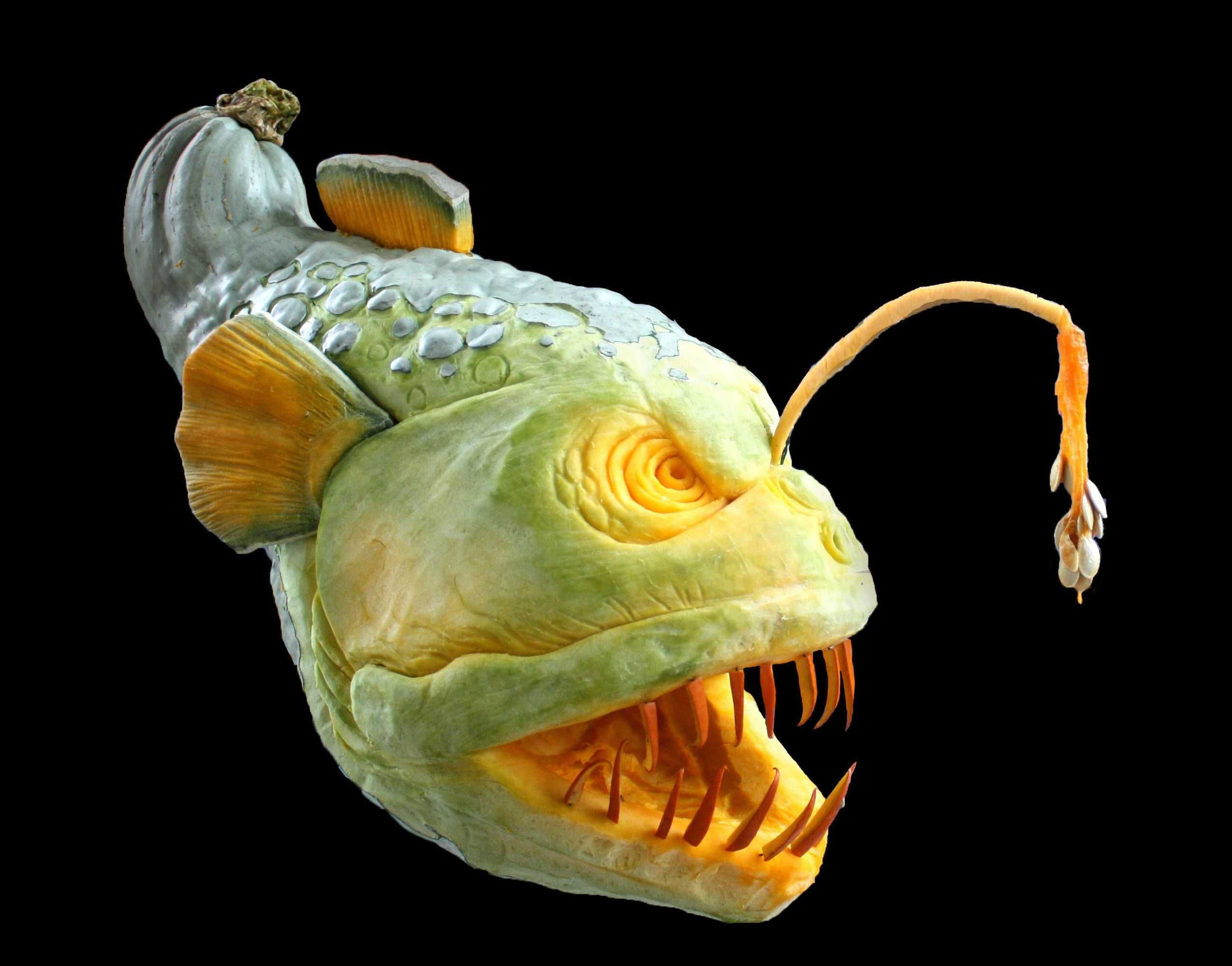 Deep Sea Angler Fish Blue Squash Sculpture/Carving by Ray ...