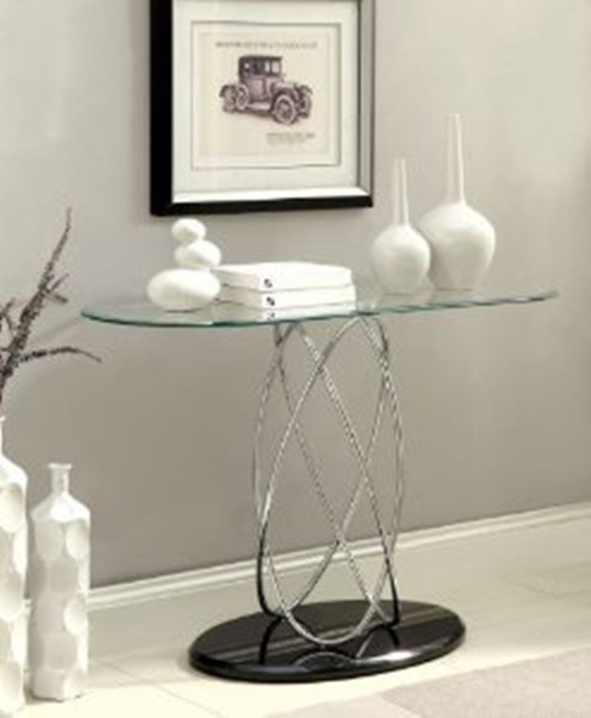 Aina iii modern styling chrome and glass sofa console entry table aina iii modern styling chrome and glass sofa console entry table with oval top features a chrome metal finish black finish base and beveled glass top geotapseo Image collections