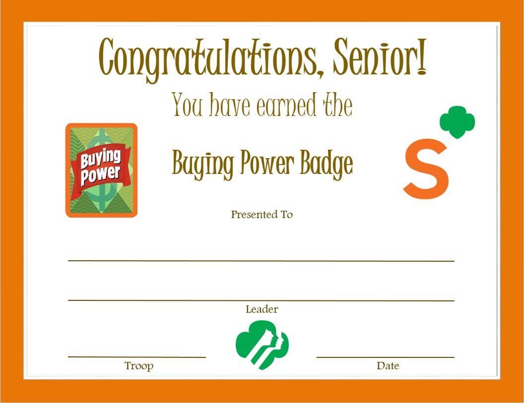 Senior Buying Power Badge Certificate