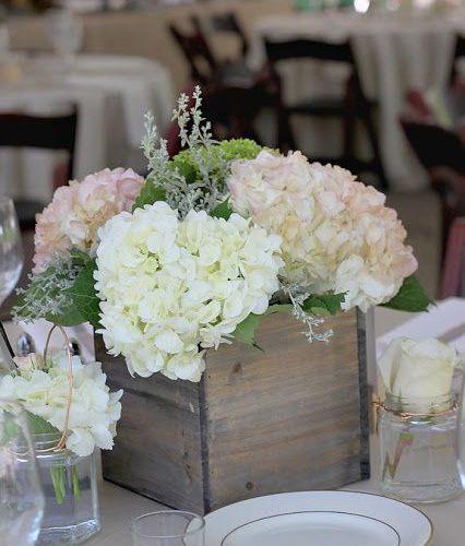 Hortensien Tischdeko Hochzeit Weiss Vintage Shabby Blumen