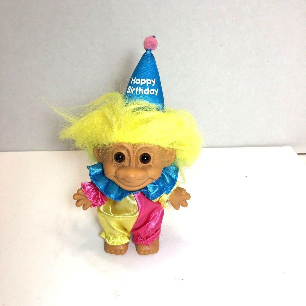 """HAPPY BIRTHDAY BOY w//PRESENT NEW IN ORIGINAL WRAPPER 5/"""" Russ Troll Doll"""