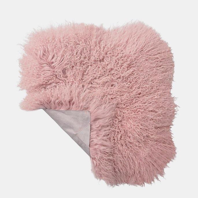 Outstanding Pink Mongolian Lamb Fur Seat Cover Products Pink Seat Pabps2019 Chair Design Images Pabps2019Com