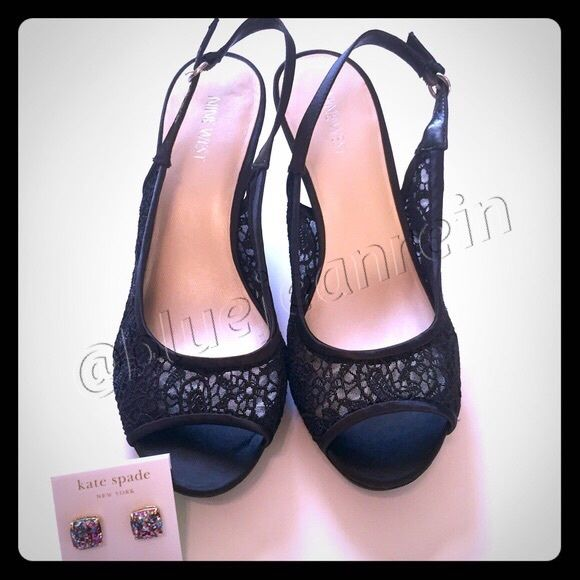 "NEW Nine West Black Lace Peep Toe Pumps! NEW in box, Nine West ""Kindly"" Lace Embroidered Peep Toe Pump!   Size: 9 Color: Black  DETAILS: Embroidered lace upper Heel strap with an adjustable buckle ½"" platform, 3"" covered heel Synthetic sole Nine West Shoes Heels"