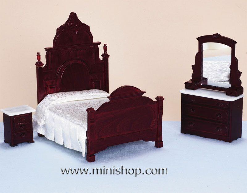 Miniature Furniture | Hyde Park Victorian Bedroom Set 3pcs ...