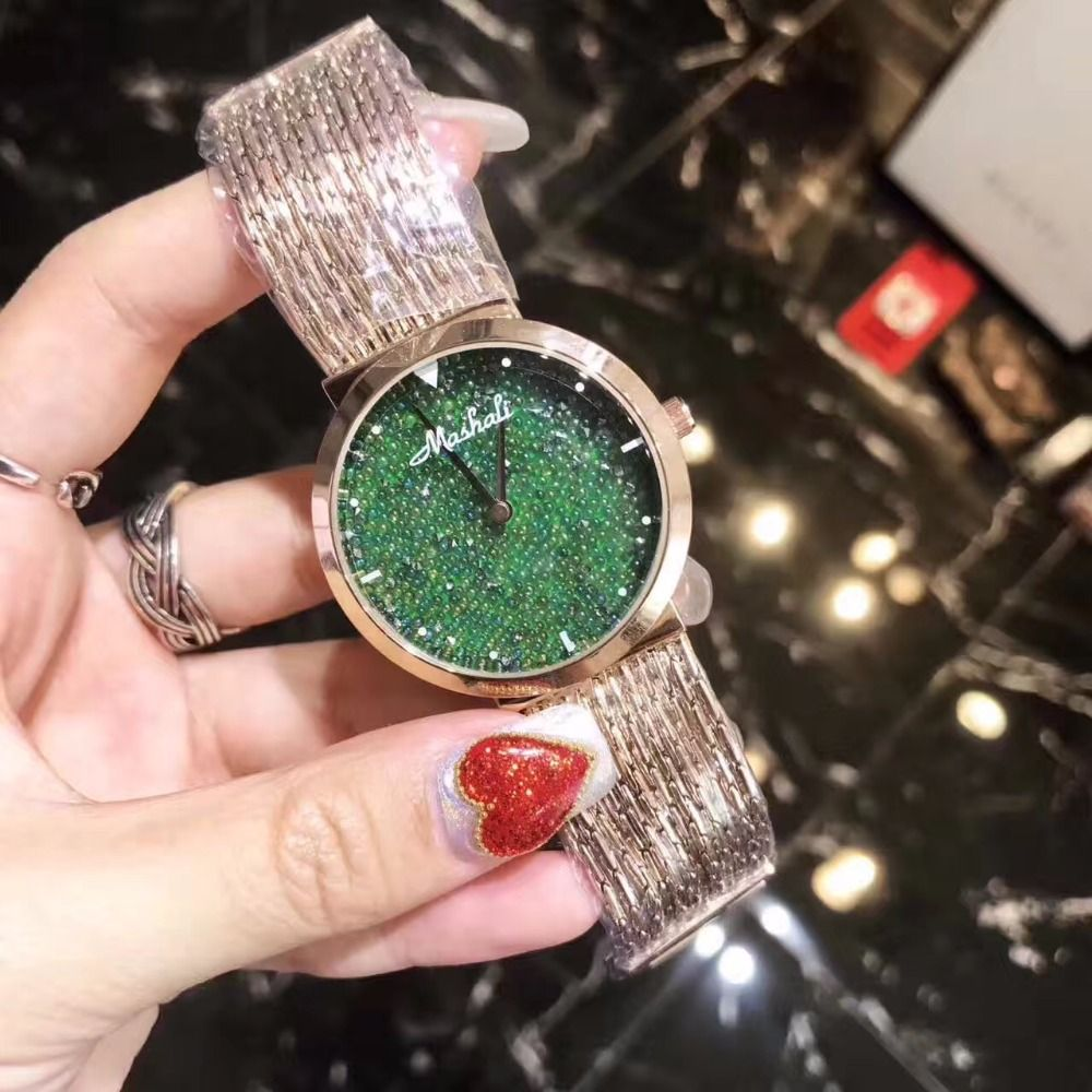 Click to buy ucuc new style women watch fashion green crystal
