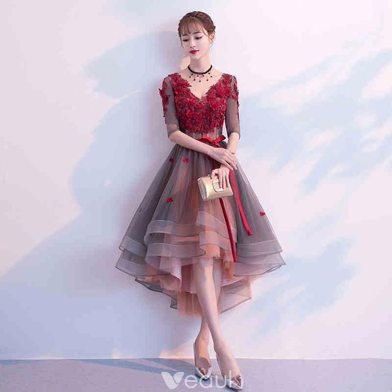 Modern / Fashion Burgundy Cocktail Dresses 2019 A-Line / Princess V-Neck Appliques Bow 1/2 Sleeves Backless Asymmetrical Formal Dresses #weddingcocktaildress #backlesscocktaildress