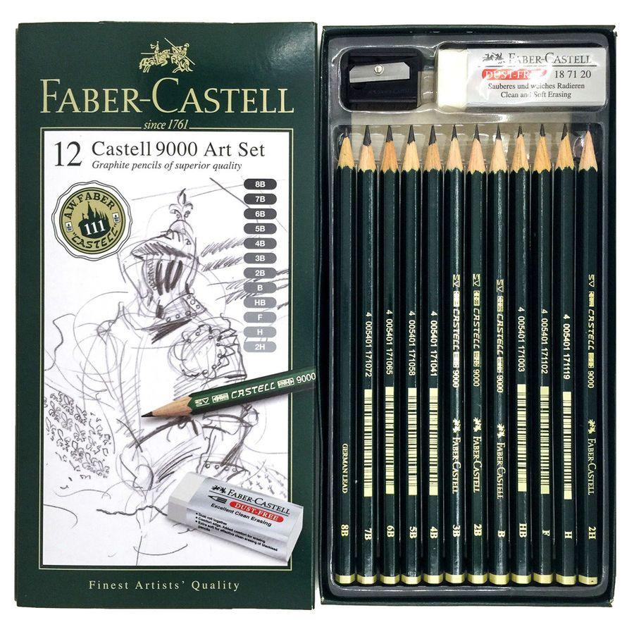 Faber Castell 9000 Art Set 12x Graphite Sketch Pencils ...