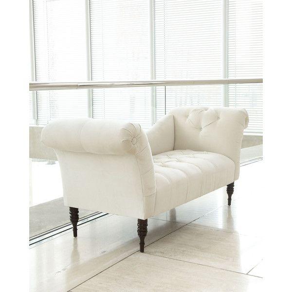 White Pandora Settee featuring polyvore home furniture sofas antique white tufted  sofa victorian style couch beige - White Pandora Settee Featuring Polyvore Home Furniture Sofas