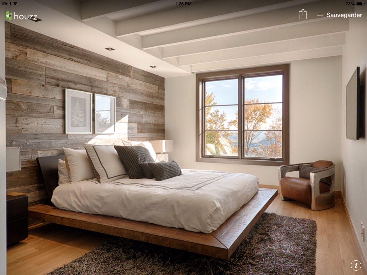 Les 25 meilleures id es de la cat gorie mur de bois sur for Agencement chambre a coucher