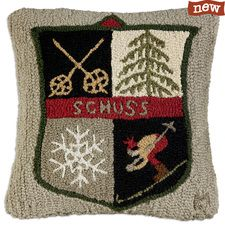 "Schuss Ski Patch 18"" Hooked Pillow"