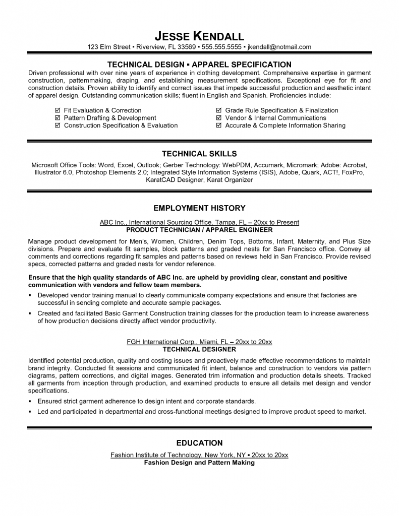 technical resume example