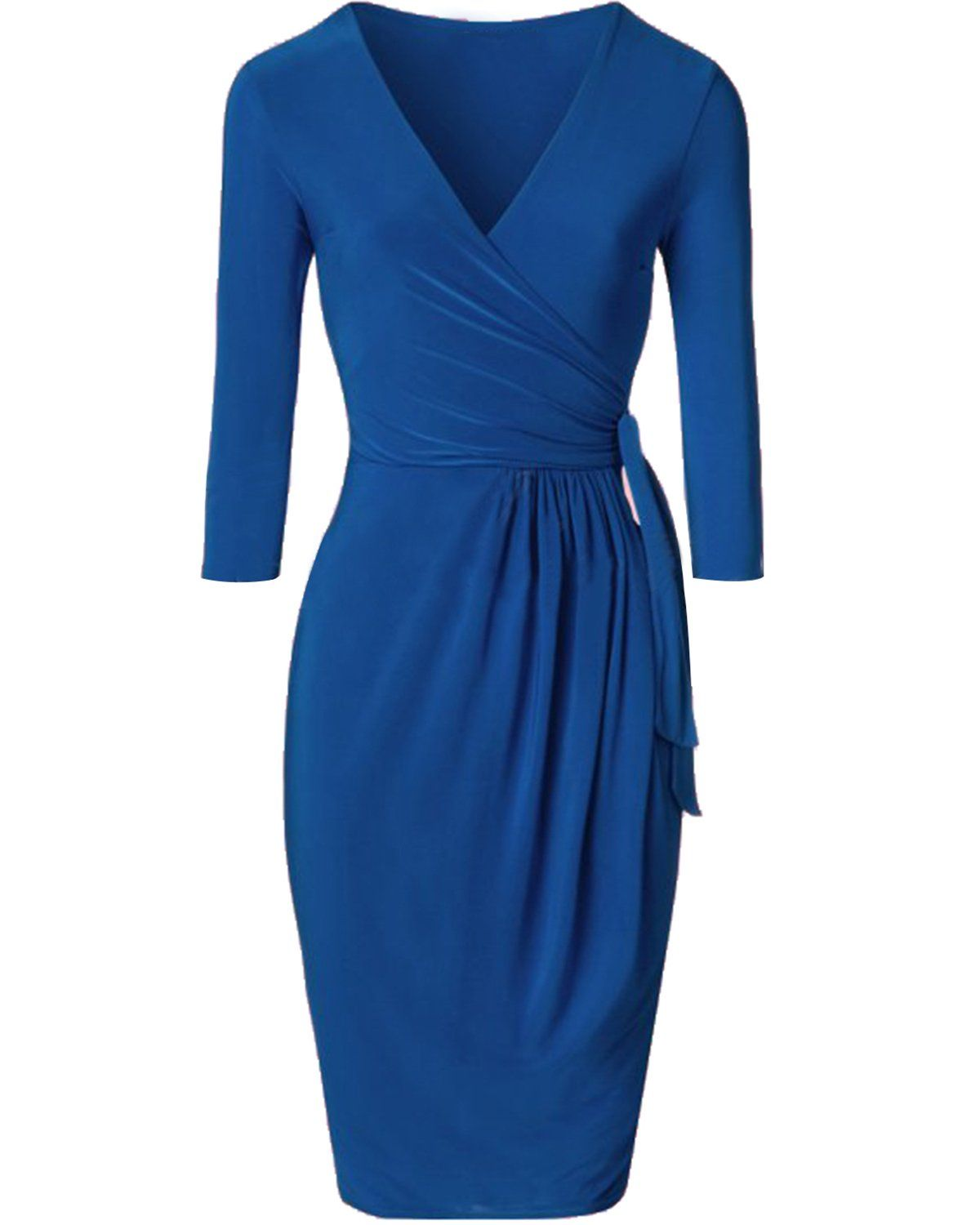 Maternity Outfits Cool Maternity Dresses Tempt Me Women Vintage V Neck 3 4 Sleeve Bodycon Ruched Faux Wrap Dress Blue Me Wrap Dress Dresses Faux Wrap Dress [ 1500 x 1200 Pixel ]