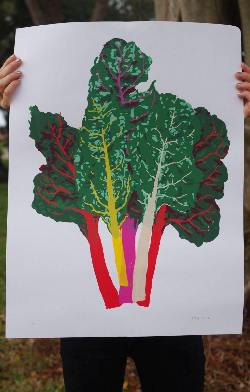 Medium Rainbow Chard Bouquet Silkscreen Print | the plant ...
