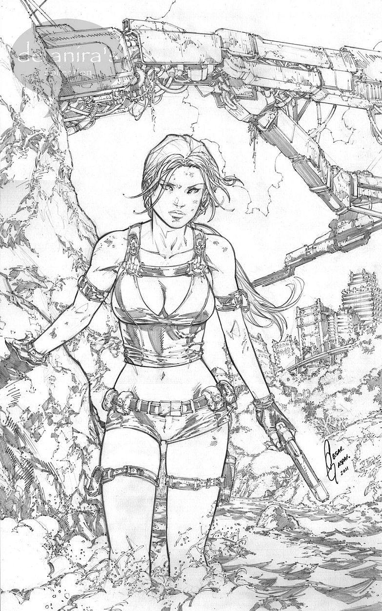 tomb raider lara croft cesar gonzales - Lara Croft Coloring Pages
