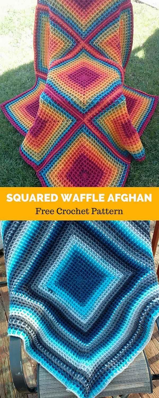 Squared Waffle Afghan block [ FREE CROCHET PATTERN | Pinterest ...