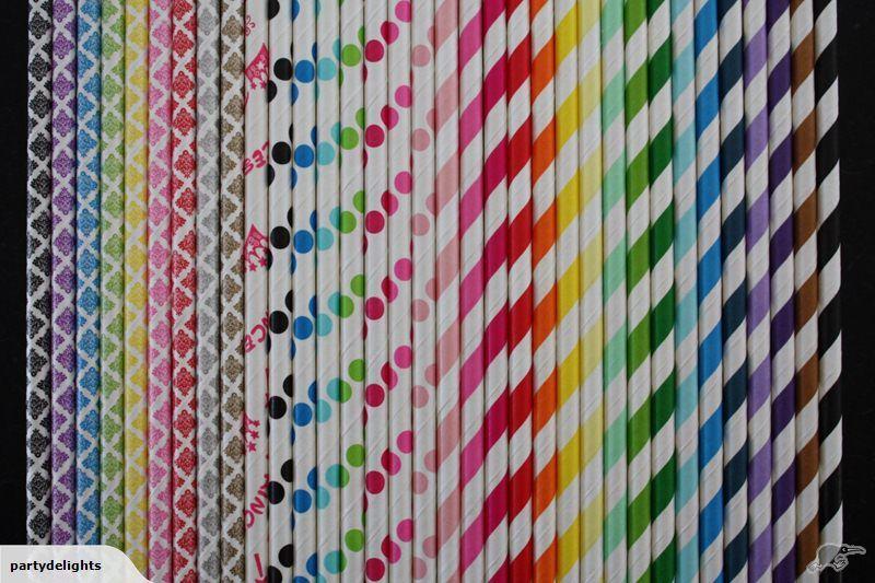 Paper Straws - Damask,Stripes,Polka Dots,Princess | Trade Me