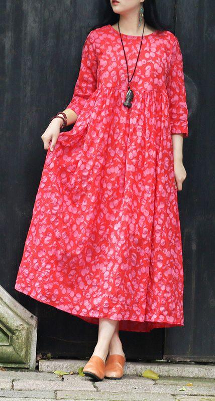 23abf3c46e27c0 Italian red print cotton tunics for women Korea Fabrics o neck pockets Robe Summer  Dresses