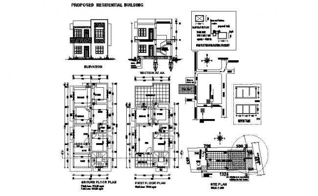 Site Plan Of Residential Building 16 08mtr X 6 99mtr With Elevation And Section In Autocad File Residential Building Plan House Plans Open House Plans