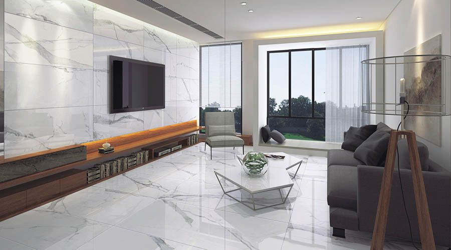 Porcel-Thin Calacatta marble effect 120x60cm porcelain tiles in a ...
