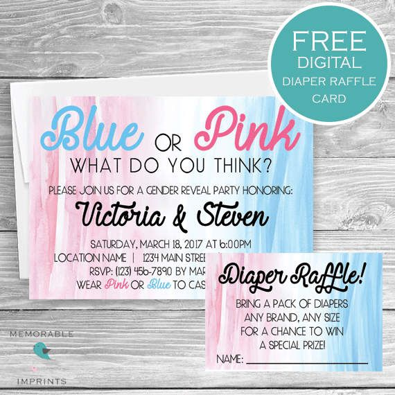 Gender Reveal Invitation Blue Or Pink Watercolor Gender Reveal