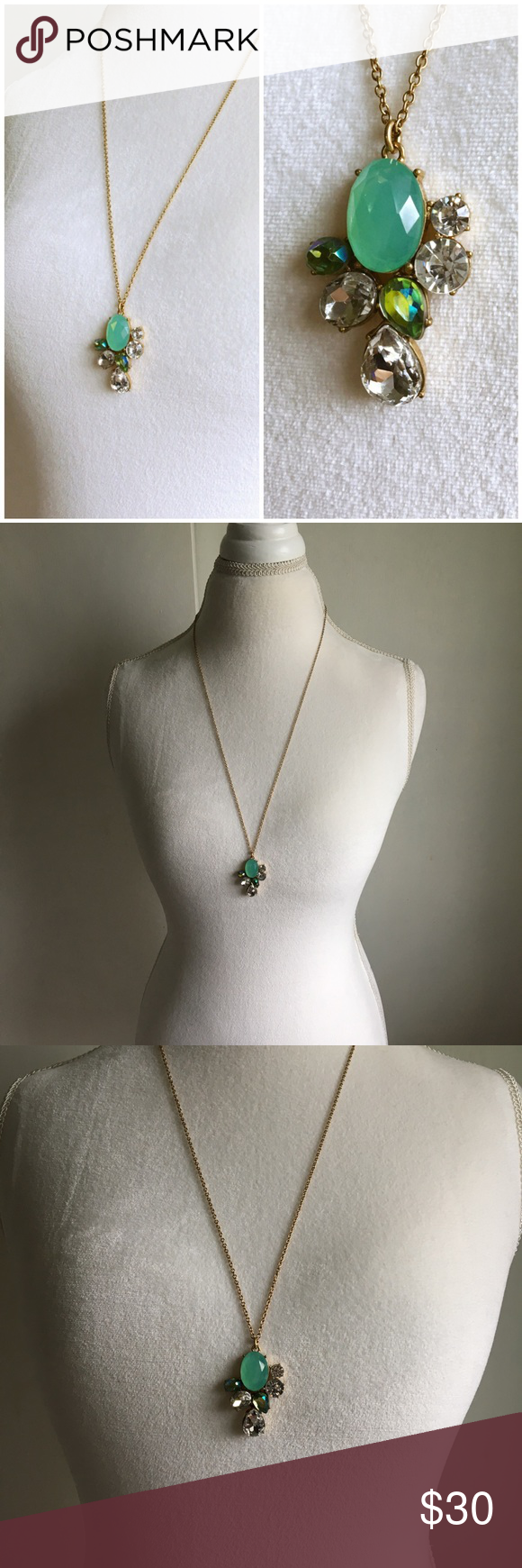 J crew long necklace teal bling and crystals