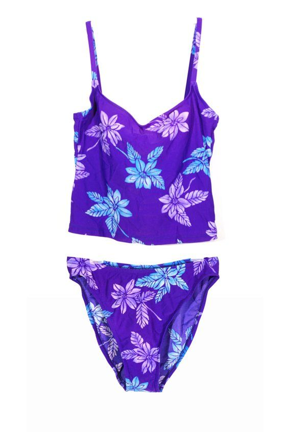 2b646210804 90s Hawaiian Tropical Tankini! Purple Surfer Girl Style Vintage Tank Top  Swimsuit with Hibiscus Flor