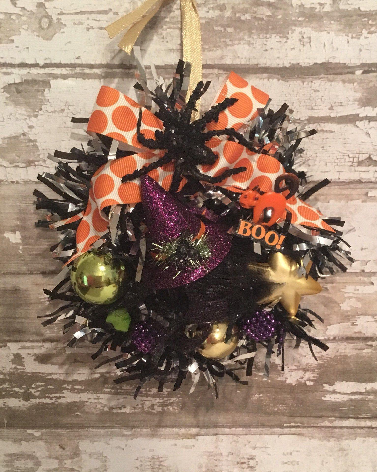 "Halloween Tinsel Wreath Ornament 6"" Mini Wreath, Vintage"
