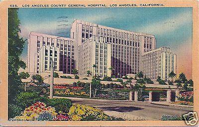 Vintage Hospital Los Angeles County General Hospital California La Ca Old Vintage Linen California Postcard Postcard Los Angeles Hotels