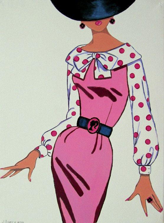 Fashion Girl Woman Barbie belt pink dress hat original painting byJulie Barry. via Etsy.