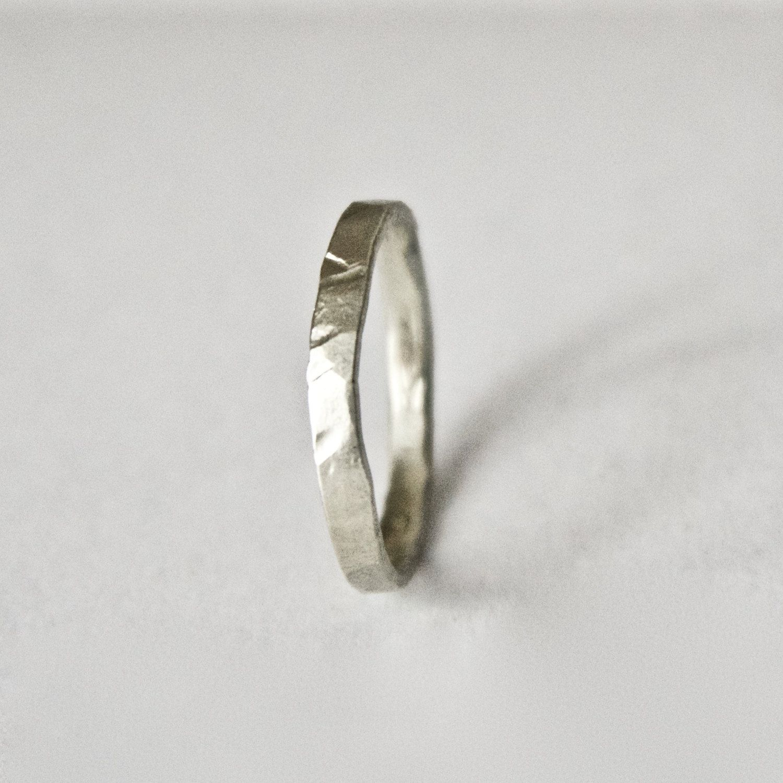 White Gold Hammered Ring 9 Carat Flat Hammer Textured