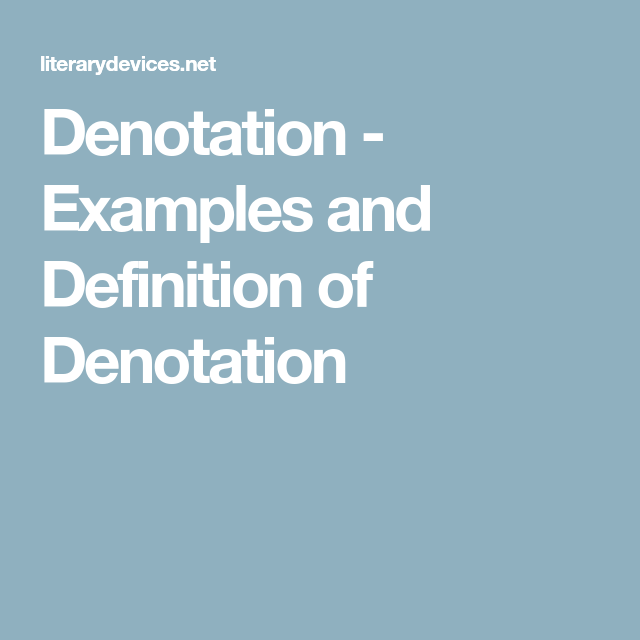 Denotation Examples And Definition Of Denotation Language