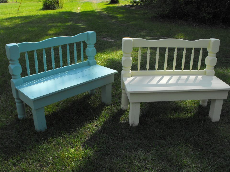 Benches made from headboards Diy furniture building