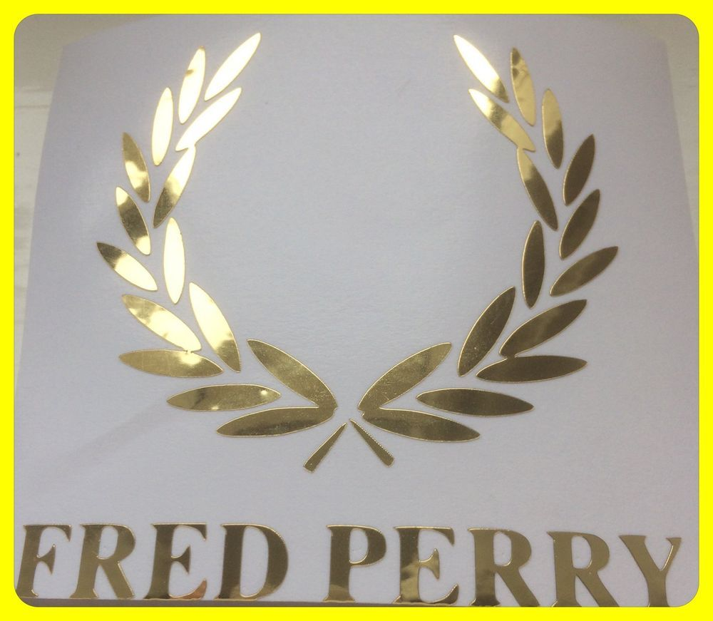Fred Perry Logo  DECAL/STICKER GOLD  CHROME SCOOTER DECAL/STICKER  8cm/ 80mm