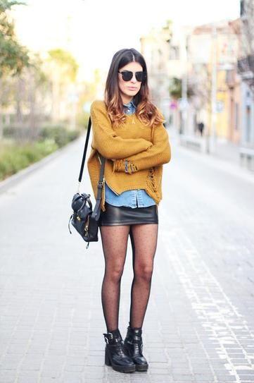 30 ways to wear a black leather skirt - chambray shirt layered under mustard sweater + hose and biker boots// Dulceida