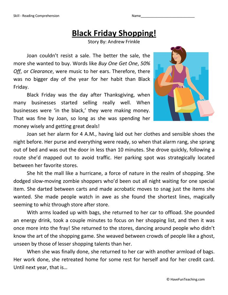 Black Friday Shopping Fifth Grade Reading Comprehension