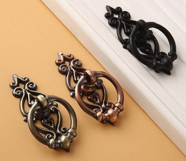 Drawer Handle Antique Bronze Copper Black Drop Ring Pulls Handles / Cabinet  Handle Pull Knob Furniture